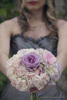 Bridesmaid Bouquet of Lavender and Light Pink Hydrangeas, and Blue Curiosa and Sahara Roses - The French Bouquet - Laura Vogt Photography