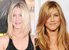 Hair Extensions Before After Jennifer Aniston long bobs and long curls hair Before After Hair, Before And After Haircut, Hair Extensions Before And After, Celebrity Hair Extensions, Hair Extensions For Short Hair, Long Hair Cut Short, Long Curls, Hair Extensions Tutorial, Jennifer Aniston Hair