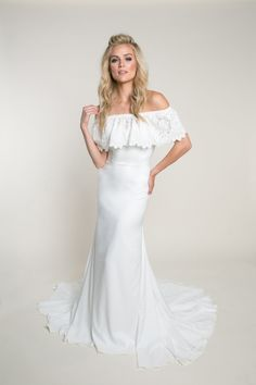 We love this beautiful new wedding dress from heidi elnora. Browse pictures, view details, and find a local shop carrying it near you. Sophisticated Wedding Dresses, Affordable Wedding Dresses, Country Wedding Dresses, Bridal Wedding Dresses, Modest Wedding, Lace Wedding, Form Fitting Wedding Dress, Crepe Wedding Dress, Designer Wedding Gowns