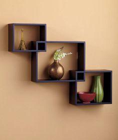 Set 3 Interlocking Modern Rectangle Cube Wall Shelves Display Decor Wooden Black | eBay