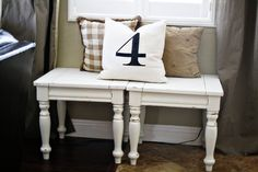 using two end tables as a bench