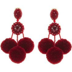 Oscar de la Renta Garnet Triple Pom Pom Earrings ($465) ❤ liked on Polyvore featuring jewelry, earrings, garnet jewellery, long clip on earrings, oscar de la renta earrings, oscar de la renta jewelry and nickel free jewelry