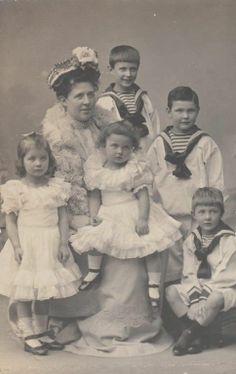 Duchess Margarete of Württemberg / Archdss of Austria & children RARE 1902 photo