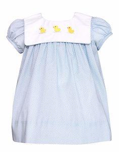 c09dc3887425 Petit Bebe by Anavini Baby Girls Turquoise Striped Smocked Noah s Ark Bubble