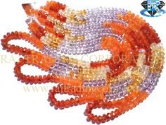 Multi Faceted Roundel (Quality A) (Carnelian Citrine Pink Amethyst) Shape: Roundel Faceted Length: 36 cm Weight Approx: 11 to 13 Grms. Size Approx: 4.5 to 5 mm Price $9.00 Each Strand