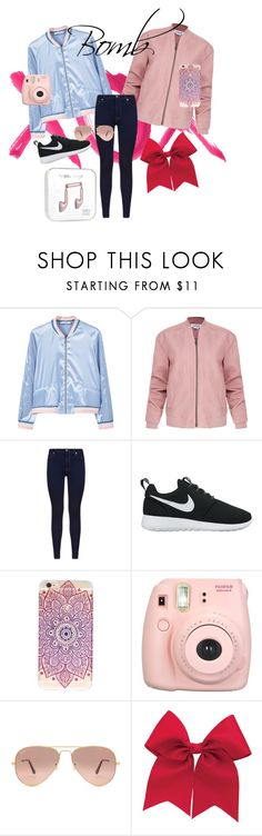 """""""Bomb Babe"""" by sonjamueller ❤ liked on Polyvore featuring GALA, MANGO, Helmut Lang, 7 For All Mankind, NIKE, Fujifilm, Ray-Ban and bomberjackets"""