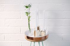 Natural Retreat - Vibrant collections for your home | Collectie £95 collectie.co.uk #copper #tray #collection #recycled #wood #candle holders #UK