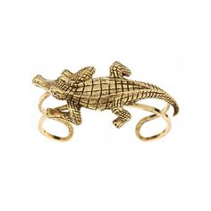 Yochi Antique Alligator Cuff ($60) ❤ liked on Polyvore featuring jewelry, bracelets, rings, accessories, antique bangle, cuff jewelry, vintage style jewelry, yochi jewelry and alligator jewelry