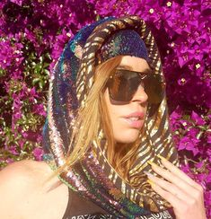 7d070daa0526a Limited Edition - Blue Nile Hologram Tiger Cosmic Hoodie Infinity Scarf -  Color Changing Dragon Scale Reversible Sequins - The Lucid Lizard Collection