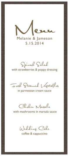 Rustic Lakefront Ranch Wedding  Menu Cards Reception And Menu