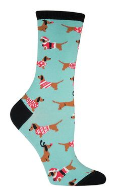 Haute diggity-dawg! If your beloved weiner dog won't let you squeeze it's cylindrical body into a scratchy Christmas sweater, these socks are the next best thing. | FOR JANE D
