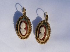 Vintage Gold Tone Cameo Earrings, $20.00 on Etsy