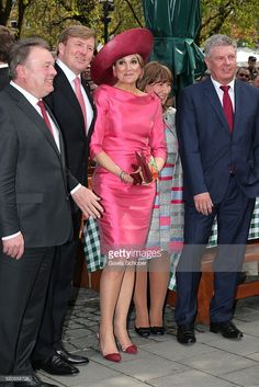 Farming Minister Helmut Brunner, King Willem-Alexander and Queen Maxima of the Netherlands and Lord Mayor Dieter Reiter with his wife at 'Viktualienmarkt' during a two-day visit of King Willem-Alexander and Queen Maxima of the Netherlands in Bavaria to strengthen the relationship between the Bavaria and the Netherlands on April 13, 2016 in Munich, Germany.