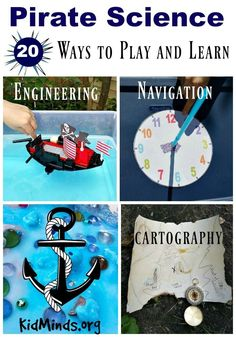Pirates offer many fascinating science topics – boat engineering, star navigation, cartography. We greatly enjoy looking closely at different aspects of pirates lives and doing related hands-on activities, and you will too! Pirate Preschool, Pirate Activities, Pirate Kids, Pirate Crafts, Pirate Day, Summer Activities For Kids, Science For Kids, Science Activities, Summer Kids