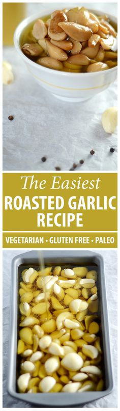 You know by now that I use roasted garlic cloves in almost every recipe. They're very tasty and don't overpower the dish as raw garlic does. And they're so easy to make. I buy bulk pre-peeled garlic to make things easier. I put it in a bread pan, cover it Best Gluten Free Recipes, Other Recipes, Low Carb Recipes, Vegetarian Recipes, Cooking Recipes, Delicious Recipes, Bulk Cooking, Dishes Recipes, Roasted Garlic Cloves