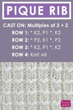 Pattern Instructions Pique Rib Knit Stitch Pattern by Studio Knit with Free Pattern and Video Tutorial #StudioKnit #knittingpattern #knitstitchpattern