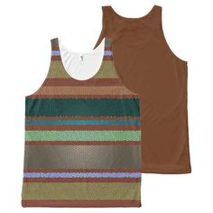 Stained Glass Tile and Stripe South Western Colors All-Over Print Tank Top Tank Tops