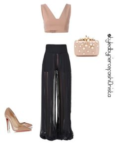 """""""Nude mood"""" by fiercefashi0nista on Polyvore featuring Balmain, T By Alexander Wang, Christian Louboutin and Elie Saab"""