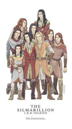 Feanor, his seven sons & grandson Celebrimor by ChoiStar
