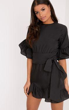 9c07ed642c Caris Black Long Sleeve Lace Bodycon Dress. Aaliyah Black Frill Detail Mini  Dress