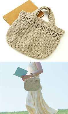 27-R106 Linen Handbag By Pierrot (Gosyo Co., Ltd) - Free Crochet Diagram - See http://gosyo.co.jp/english/pattern/eHTML/ePDF/1103/4w/27-R106_Linen_Handbag.pdf For PDF Diagram - (ravelry)