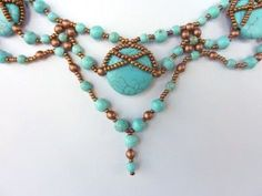 DIY Jewelry: FREE beading pattern for necklace made with natural stone 20mm pillow beads, 4mm and 6mm round beads, and 11/0 seed beads. Beaded Necklace Patterns, Beaded Necklaces, Jewelry Making Tutorials, Macrame Jewelry, Bead Jewellery, Seed Bead Jewelry, Seed Beads, Seed Bead Necklace, Stone Necklace