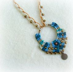 Micro macrame necklace with bronze beads and a dangle in gorgeous turquoise and blue