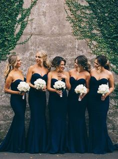 Buy Elegant Sweetheart Sweep Train Dark Navy Mermaid Bridesmaid Dress Default Category under US$ 108.99 only in SimpleDress.