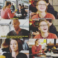 """""""This is the only place that makes this really hard to find drink I like, tea"""" - James, Kara and Alex #Supergirl ((They way Kara smiles at James))"""
