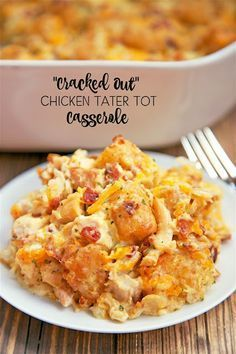 """Cracked Out"" Chicken Tater Tot Casserole - Chicken, cheddar, bacon, ranch and tater tots.You can make it ahead of time and refrigerate it or even freeze it for later. I usually bake half and freeze half in a foil pan for later. I Love Food, Good Food, Yummy Food, New Recipes, Cooking Recipes, Favorite Recipes, Recipies, Detox Recipes, Easy Recipes"