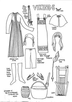 Here are our latest Ancient History Paper dolls: Ancient Egypt Ancient Vikings Ancient Rome Elizabethan Era Costume Viking, Viking Garb, Viking Dress, Viking Ship, Ancient Vikings, Norse Vikings, History Of Vikings, Vikings Ks2, Viking Clothing