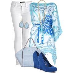 white jeans and sky blue by missyalexandra on Polyvore