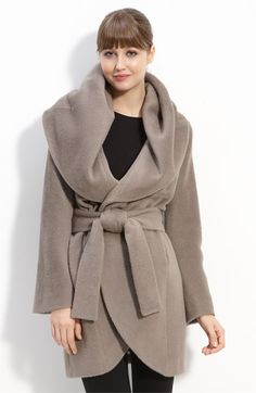 Elie Tahari Hooded Wrap Coat. Alter V1276 to copy.