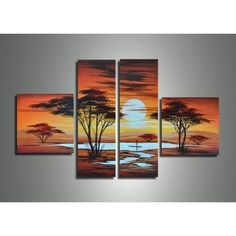 Shop for African Sunrise Large Canvas Painting- 4 Piece. Get free delivery On EVERYTHING* Overstock - Your Online Art Gallery Store! Abstract Canvas, Oil Painting On Canvas, Canvas Wall Art, Blank Canvas, Painting Frames, African Art Paintings, Oil Paintings, African Sunset, Sunset Canvas