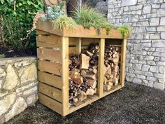 Maxi Log Store A Bluum Log Store with green roof full of succulents and grasses Outdoor Firewood Rack, Firewood Storage, Roofing Options, Log Store, Concrete Fire Pits, Living Roofs, Roof Installation, Wood Shed, Wood Patio
