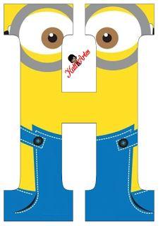 Typography - Minion Alphabet - Letter H Minion Birthday Banner, Birthday Banner Template, Minion Theme, Kids Birthday Cards, Printable Banner, Minion Template, Minion Classroom, Minion Card, Scrapbook Letters