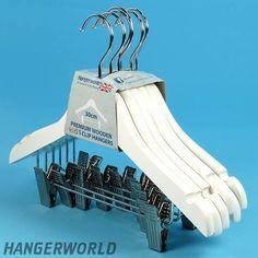 Children's White Wooden Clip Hangers - 30cm