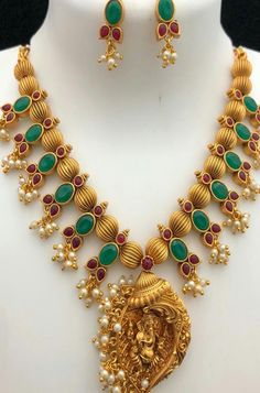 Buy online Green And Pink Golden Necklace And Earrings With Goddess Pendant Online.Shop more Handloom Necklace at Luxurionworld. Jewelry Design Earrings, Stone Earrings, Necklace Designs, Gold Jewelry, Traditional Indian Jewellery, Indian Jewellery Design, Indian Jewelry, Golden Necklace, Necklace Set