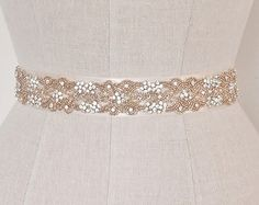 Rose Gold Wedding Belt, Bridal Sash, Blush Pink Crystal and Rhinestone Seed Beaded Orante Trim Delicate Applique, Camilla Christine FIONA