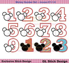 Mickey Mouse Embroidery Applique design, Mickey face birthday design, number 1-9 set, mouse-011-1-9