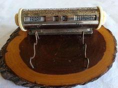 Vintage Perpetual Calendar Wood Base / Metal Uppers/ Retro Collectable
