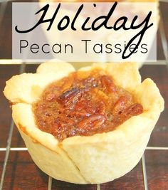 A delicious mini pecan pie. Use these for your Christmas house guests to nosh on, or to make your holiday cookie baskets!