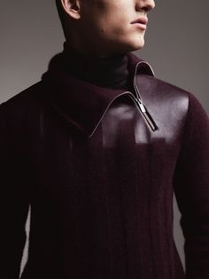 A man for all seasons.  Hermès menswear Fall-Winter 2012.  Pullover with zipped collar in plum cashmere, sable and lambskin, faded effect.  Photo:  Jacob Sutton