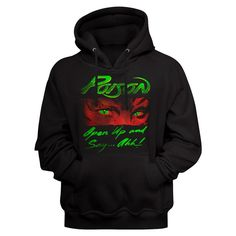 Poison Hoodie / POSION OPEN UP AND SAY Ahh! Rock Hoodie / Black Hooded Sweatshirt Black Hooded Sweatshirt, Black Hoodie, Every Rose Has Its Thorn, Mens Sweatshirts, Hoodies, Concert Tees, Rock Concert, Heavy Metal Bands, Shirt Store