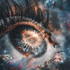 Constellations, Art Visionnaire, Arte Hip Hop, Aesthetic Eyes, Eye Photography, Arte Pop, Eye Art, Galaxy Wallpaper, Psychedelic Art