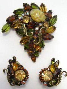 Vintage Huge Juliana Dragons Breath Olivines Topaz Amber GT Pin Brooch Earrings | eBay