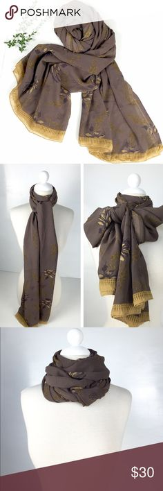 """Sheer Taupe Gold Lightweight Scarf/Beachwrap DETAILS: •100%  Sheer Fabric • Pretty Taupe and Gold •Measurement: 92""""long x 42""""width • Hand wash cold only •Minor flaws on the edge not noticeable unless looking for it.  • lightweight Other"""