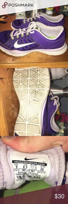 Nike tennis shoes Size 9 womens, purple, light purple laces, worn a few times, good condition Nike Shoes Athletic Shoes