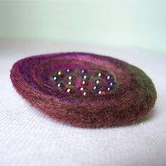Nest Pin  Felted Wool  Plum and Leaf от SmithDryGoodsShop на Etsy