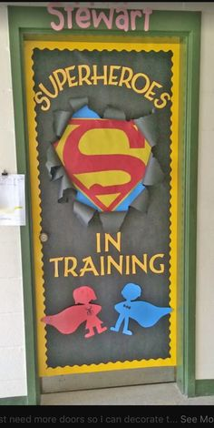 Check out these cool back to school bulletin boards! Welcome students with these creative bulletin board and classroom door decorating ideas. Creative Bulletin Boards, Back To School Bulletin Boards, Preschool Bulletin Boards, Welcome Bulletin Boards, Superhero Classroom Door, School Classroom, Classroom Themes, Superhero Bulletin Boards, Holiday Classrooms